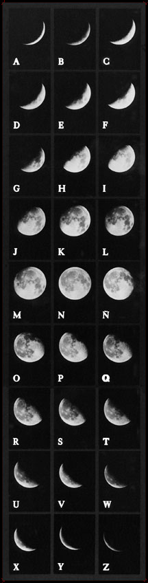 Invented alphabet composed of the faces of the moon