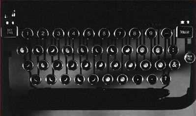 Typewriter keyboard made with the faces of the moon
